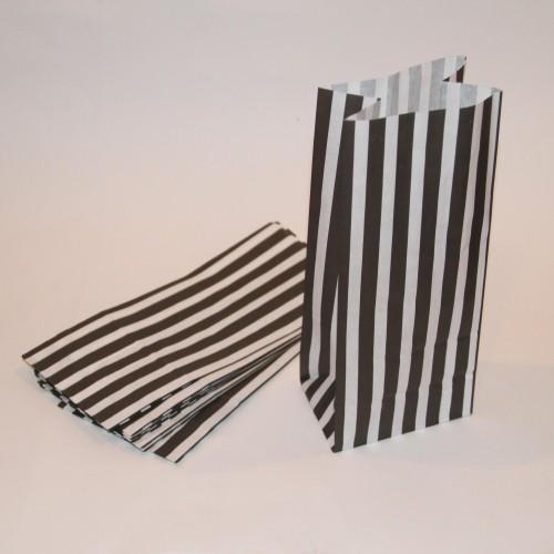 schwarz weiss gestreifte Papierbeutel mit Boden 10 Stk