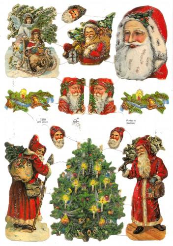 Glanzbilder Bogen Weihnachtsmann glitzernd