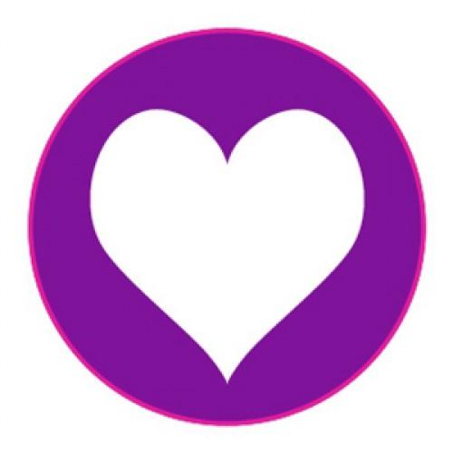 10 Herz Sticker Etiketten lila weiss