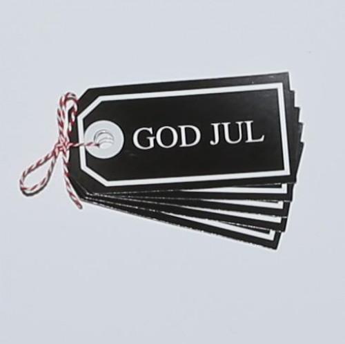 Paketanhänger Weihnachten God Jul schwarz/w 5 Stk