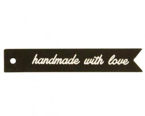 5 Pappanhänger HANDMADE WITH LOVE schwarz weiss