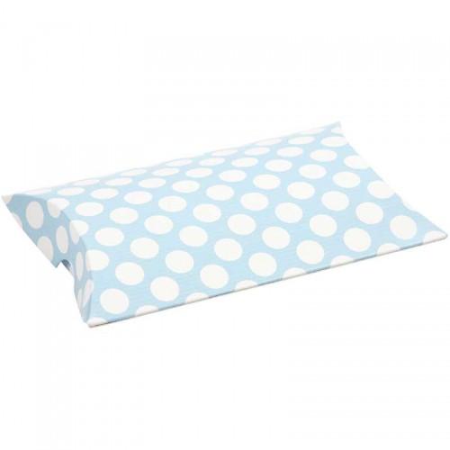 10 Faltschachteln Pillow Dots hellblau weiss
