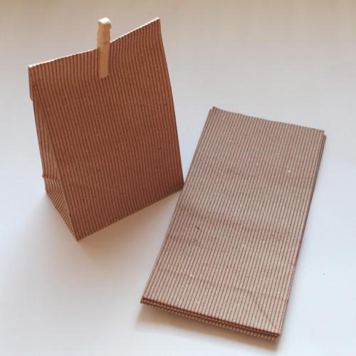 Papierbeutel Streifen Kraft 5 Stk mittel
