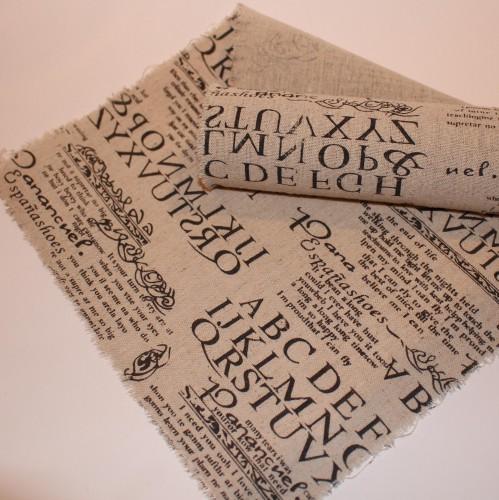 Tischläufer vintage Baumwolle Script 28cm x 2,5Meter