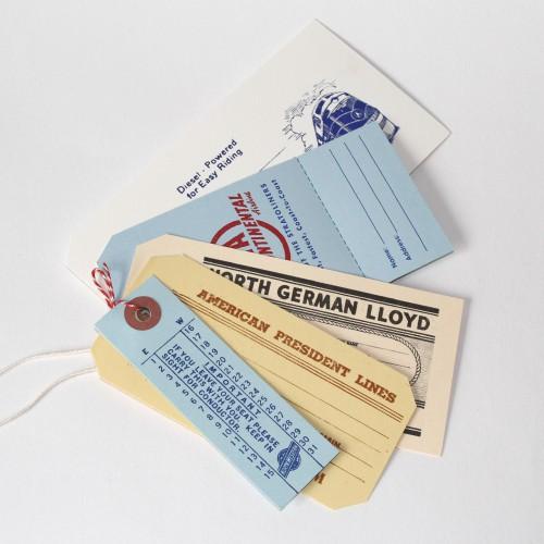 5 vintage Paketanhänger Travel