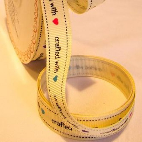 """""""crafted with love"""" Rolle 3 Meter Ripsband"""