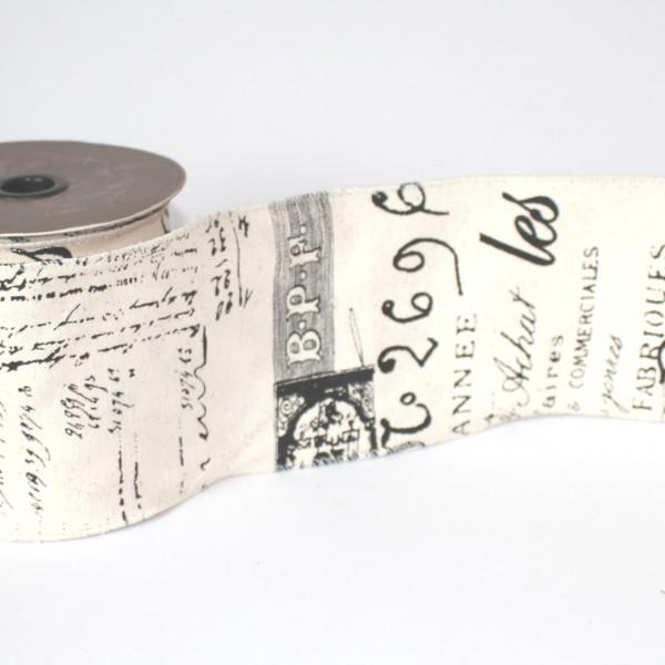 Dekoband Canvas vintage SCRIPT Französisch 10cm