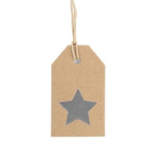 5 Paketanhänger STAR SILBER Kraft mit Band 7x4cm
