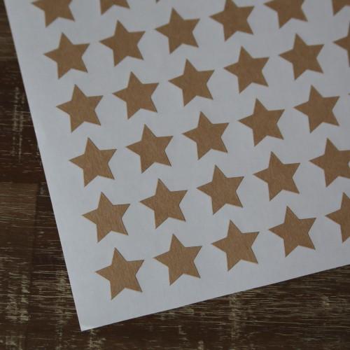 54 Sticker Label mini Stern Kraft 19 x 19 mm