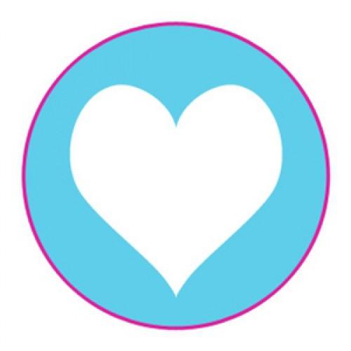 10 Herz Sticker Etiketten hellblau weiss