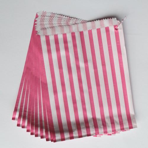 Papiertüten pink weiß gestreift, groß 10 Stk