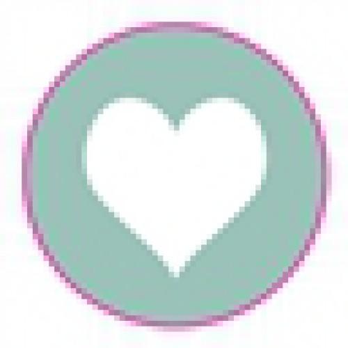 10 Herz Sticker Etiketten mint weiss