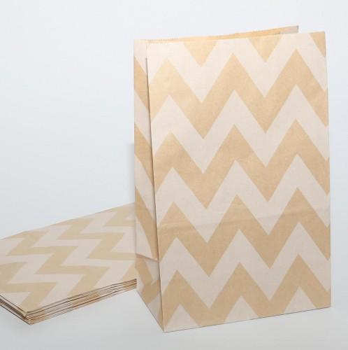 10 Papierbeutel Kraftpapier Zickzack Streifen.