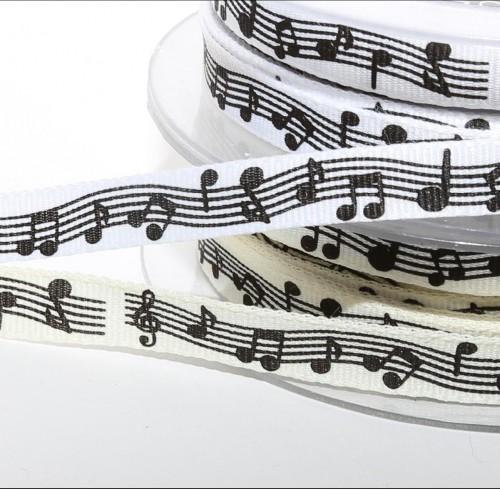 Dekoband weiss mit Musiknoten B 10mm