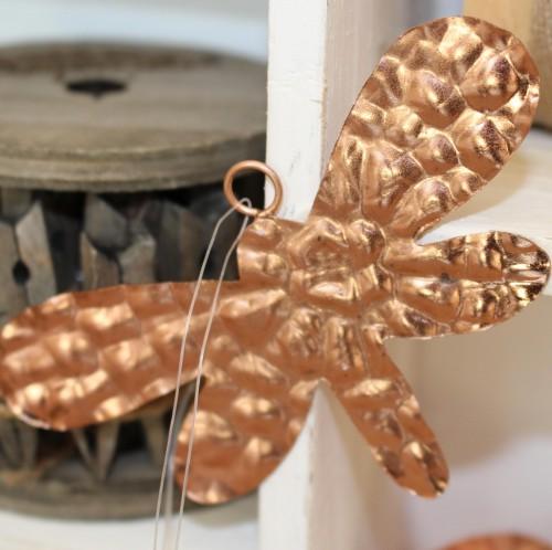 Libelle Metall Kupfer Dekohänger 12cm