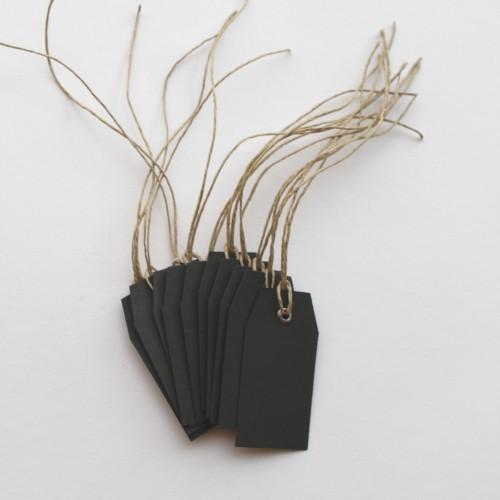 Paketanhänger mit Öse und Band schwarz klein