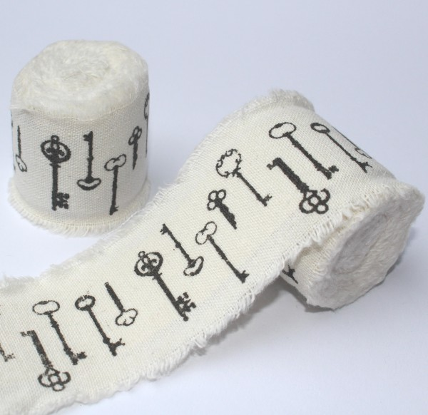 Baumwollband Schlüssel creme selbstklebend 2 Meter
