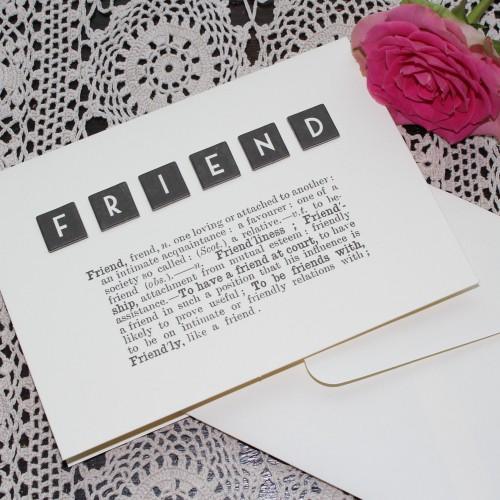 """Grusskarte """"FRIENDS"""" Dictionary Print"""