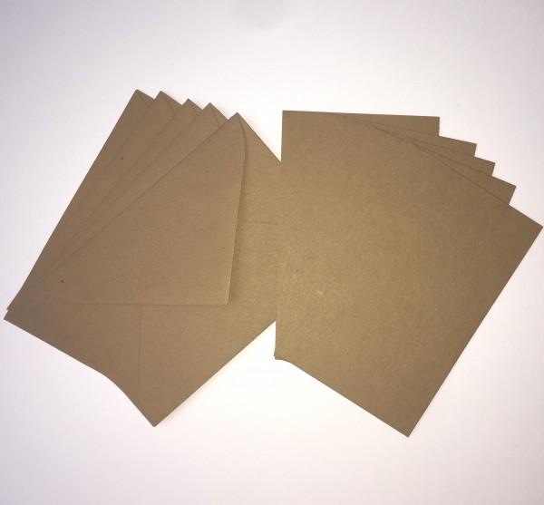 5 Karten & Kuverts A7 Kraftpapier
