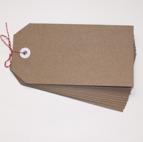 10 Paketanhänger Kraft 13x6cm