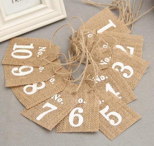 Jute Tischnummern Tischdeko Nr. 1 - 10