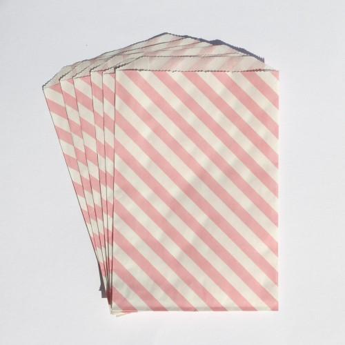 Papiertüten weiß mit rosa Streifen