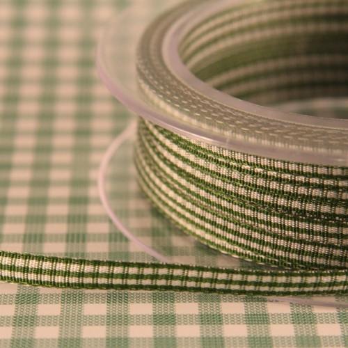 Schleifenband Vichykaro grün / weiss kariert 6mm