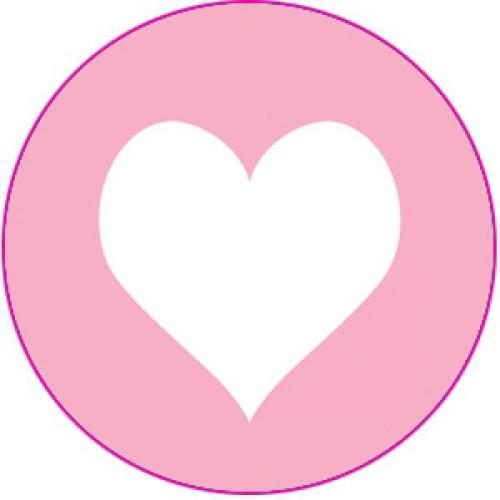 10 Herz Sticker Etiketten rosa weiss