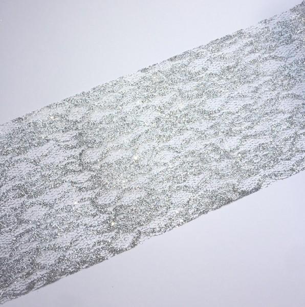 silberne Spitze 15cm breit Tischband Lace Glitzer