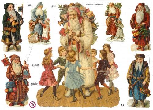 Glanzbilder Weihnachtsmann & Kinder glitzernd