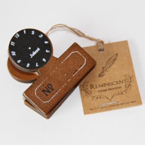 Dokumentenklammer Holz Clock