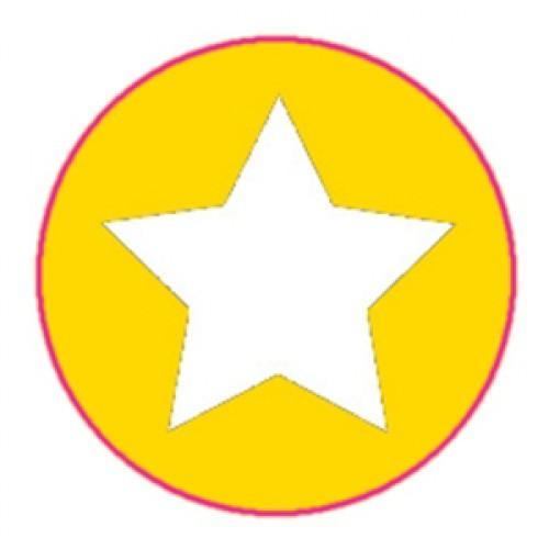 10 Stern Sticker Etiketten gelb weiss