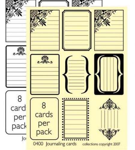 Journal Cards kleine Label Kraft weiss