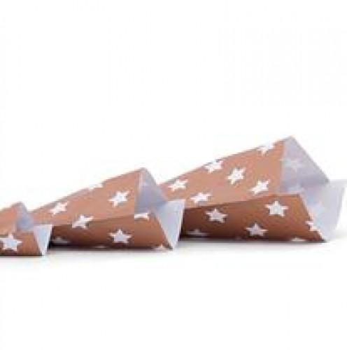 10 Papiertüten Stern bronze gross