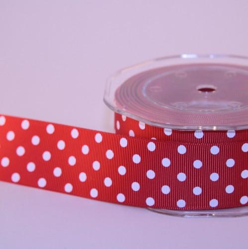Schleifenband rot weisse Punkte 25mm Draht