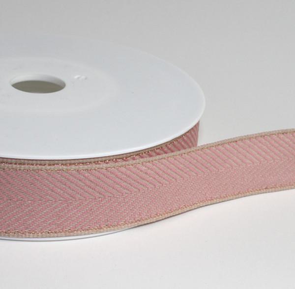 Dekoband Fischgrät rosa natur gold 25mm