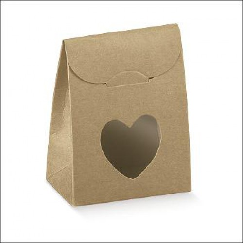 5 Faltschachteln Täschchen Herz Kraft 8x6x3,5cm