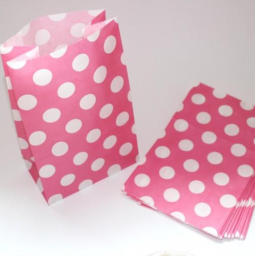 10 Papierbeutel pink mit weissen