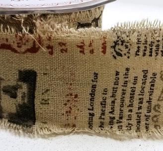 Leinenband bedruckt News 5cm breit Meterware
