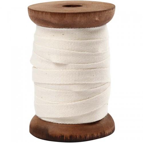 Baumwollband creme 10m auf Holzspule