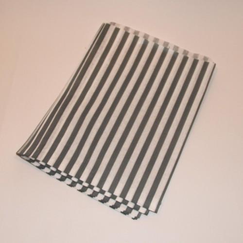 Papiertüten grau weiß gestreift, groß 10 Stk