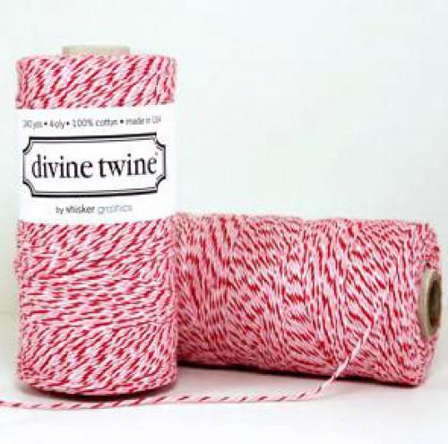 Divine Twine Rolle Garn rosa, rot, weiß 4-fädig