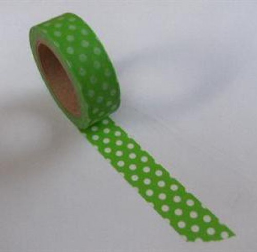 Washi Masking Tape hell-grün weiss Punkte