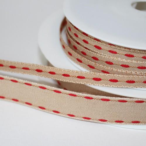 Dekoband Natur stitches ROT 6mm Sattelstich