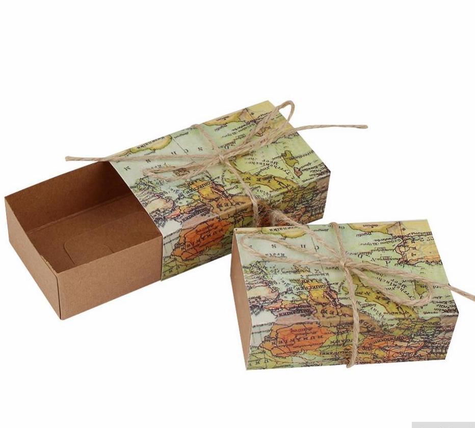 Giveaway Hochzeit: 5 Schachteln WORLD MAP Giveaway Favour Hochzeit