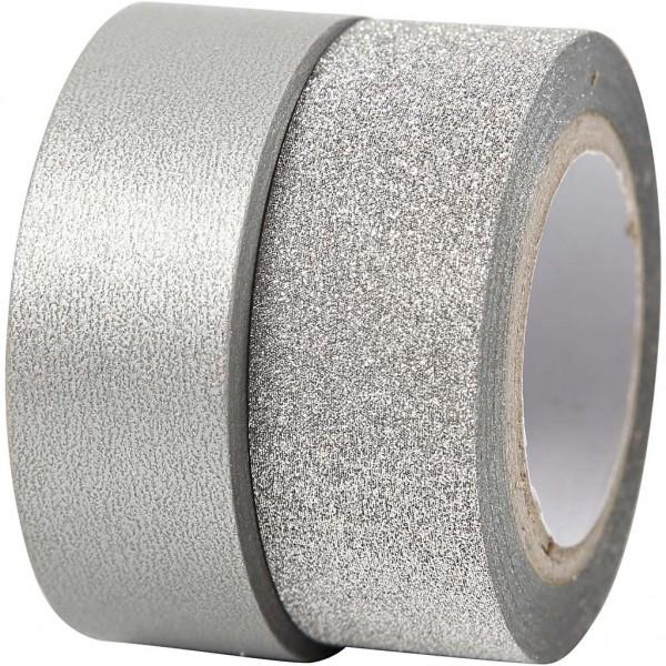 2 x Masking Tape silber / glitzer