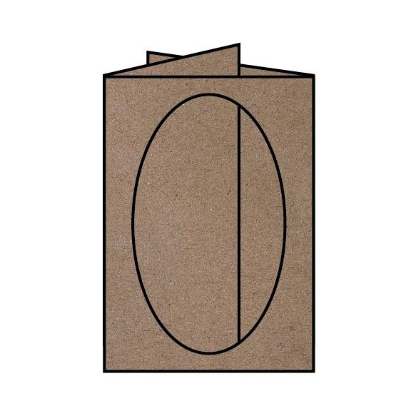 5 Karten Passepartout B6 Kraft oval