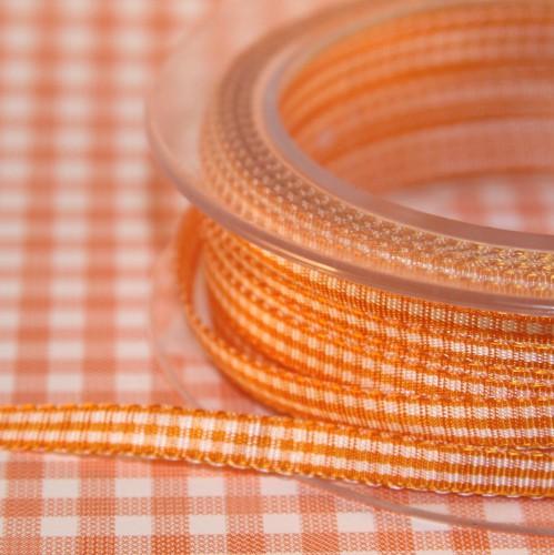 Schleifenband Vichykaro orange / weiss kariert 6mm