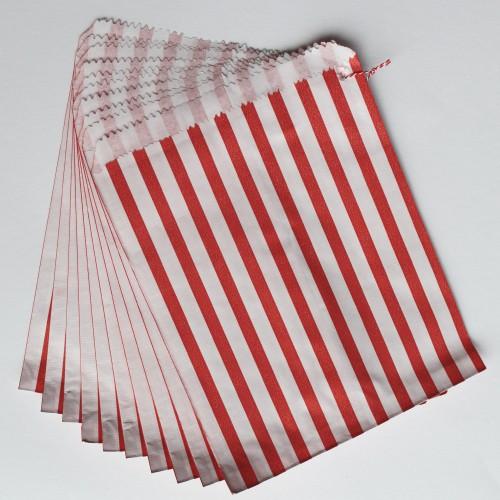 Papiertüten rot weiß gestreift, groß 10 Stk