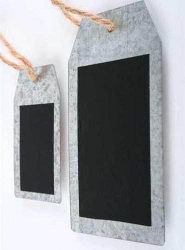 4 kleine Zinkhänger Tafel Juteband